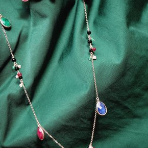 Necklace silver 925 punk gold plated with gemstones - Color Me
