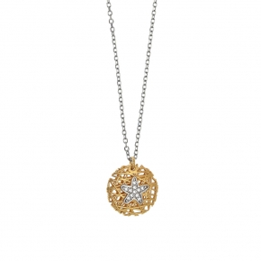 Necklace silver 925 black rhodium plated with yellow gold plated and white zirconia - WANNA GLOW