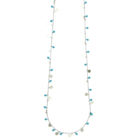 Necklace bronge rhodium plated with synthetic stones - Simply Me