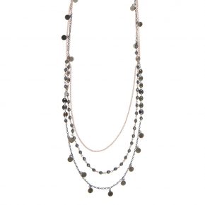 Necklace metal pink gold and black rhodium plating with synthetic stones - Funky Metal