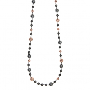 Necklace silver 925 with black and rose lava beads - Color Me