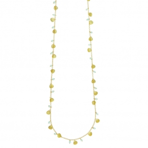 Necklace bronge yellow gold plated with synthetic stones - Simply Me
