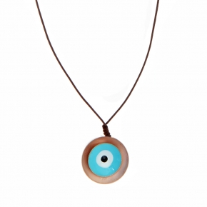 Necklace bronge rose gold plated with enamel and cord size of the eye 2.5cm - Wish Luck