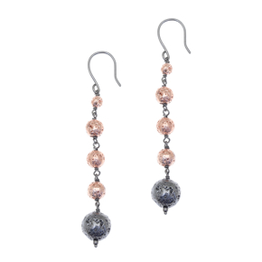 Earrings silver 925 with black and rose lava beads - Color Me