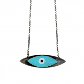 Necklace bronge black rhodium plated with enamel size of the eye 4,5cm - Wish Luck