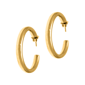 Earrings in silver 925 yellow gold plated (diameter 3.2 cm 0,4 cm thick) - Funky Metal