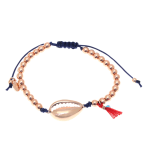 Bracelet silver 925 pink gold plated with cord - Color Me