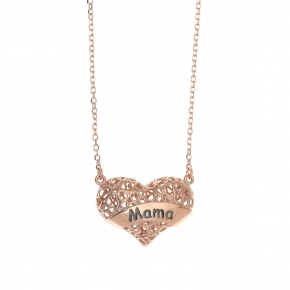 Necklace silver 925 pink gold plated - Wish Luck