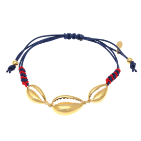 Bracelet silver 925 yellow gold plated with cord - Color Me