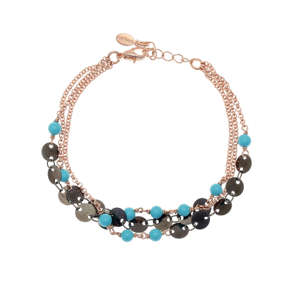 Bracelet bronge rose gold and black rhodium plated with synthetic stones - Simply Me