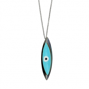 Necklace bronge black rhodium plated with enamel size of the eye 6cm - Wish Luck