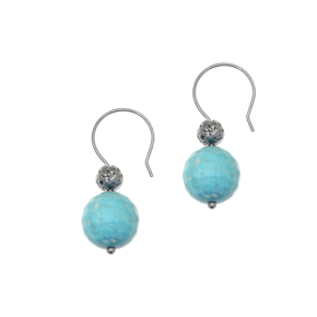 Earrings silver 925 black rhodium plated with turquoise and black lava beads - Color Me