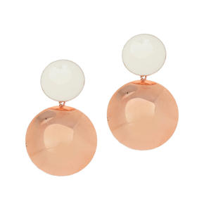 Earrings bronge pink gold plated with enamel (length 5cm) - Color Me