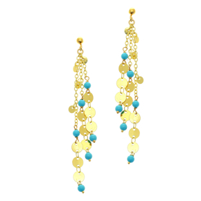 Earrings bronge yellow gold plated with synthetic stones - Simply Me