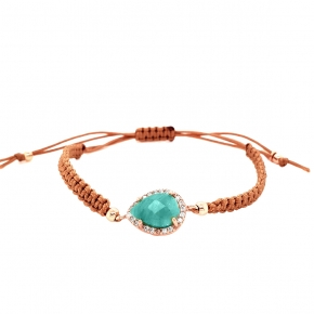 Bracelet silver 925 pink gold plated & with amazonite and white zirconia with cord - Color Me