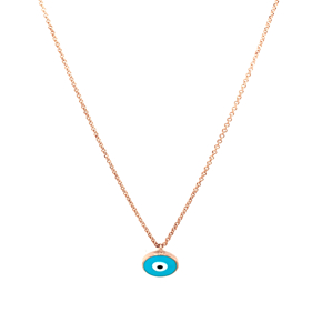 Necklace silver 925 pink gold plated with enamel evil eye - Wish Luck