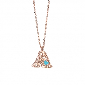 Necklace silver 925 rose gold plated with enamel - Wish Luck