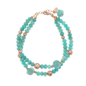 Bracelet silver 925 pink gold plated with amazonite and rose lava beads - Color Me
