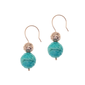 Earrings silver 925 rose gold plated with amazonite and rose lava beads - Color Me
