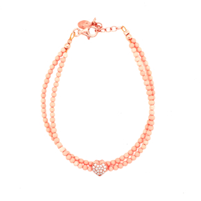 Bracelet silver 925 pink gold plated with white zirconia - Color Me