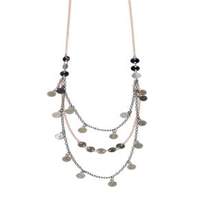 Necklace metal rose gold and black rhodium plating - Funky Metal