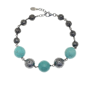 Bracelet silver 925 black rhodium plated with turquoise and black lava beads - Color Me