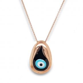 Necklace silver 925 pink gold plated & with enamel evil eye  (2,8 cm x 1,7 cm) - Wish Luck