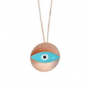 Necklace bronge rose gold plated with enamel size of the eye 3cm - Wish Luck