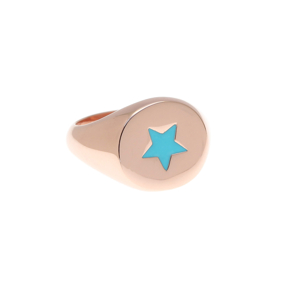 Ring silver 925 pink gold plated with enamel - Color Me