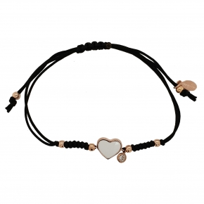 Bracelet silver 925 pink gold plated with enamel,white zirconia and cord - Color Me