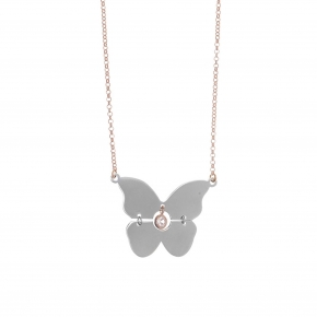 Necklace silver 925 pink gold plated with rhodium plated anad white zirconia - Funky Metal