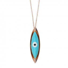 Necklace bronge rose gold plated with enamel size of the eye 6cm - Wish Luck