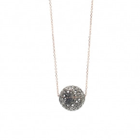 Necklace silver 925 rose gold plated with black rhodium plated - WANNA GLOW
