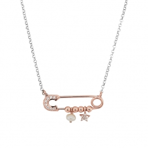 Necklace silver 925 rhodium pltated with pink gold plated and white zirconia - Wish Luck