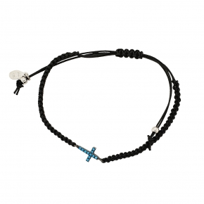 Bracelet silver 925 black rodium plated with tq zirconia and cord - Color Me