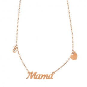 Necklace silver 925 rose gold plated with white zirconia - Wish Luck