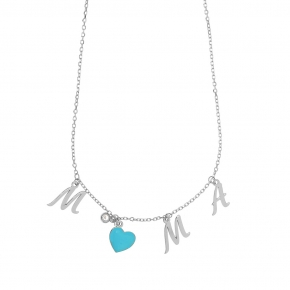Necklace silver 925 rhodium plated & with white zirconia and enamel - Wish Luck