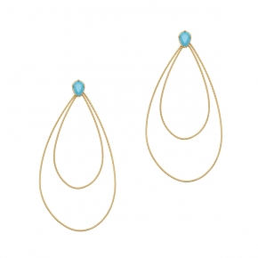 Earrings in silver 925 yellow gold plated with tyrqoise zirconia - Funky Metal