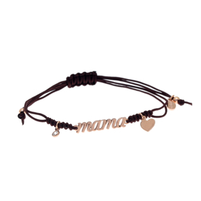 Bracelet silver 925 rose gold plated with white zirconia and cord - Wish Luck