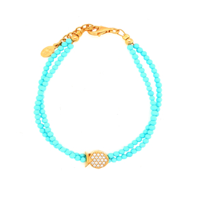 Bracelet silver 925 yellow gold plated with white zirconia - Color Me