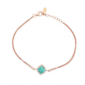 Bracelet silver 925 pink gold plated & with amazonite and white zirconia - Color Me