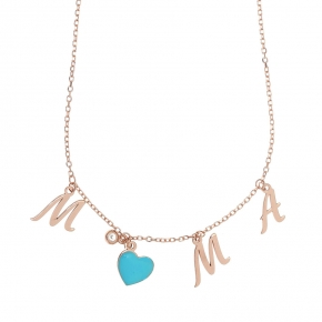 Necklace silver 925 rose gold plated & with white zirconia and enamel - Wish Luck