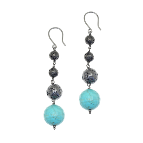 Earrings silver 925 black rhodium plated with turqoise and black lava beads - Color Me