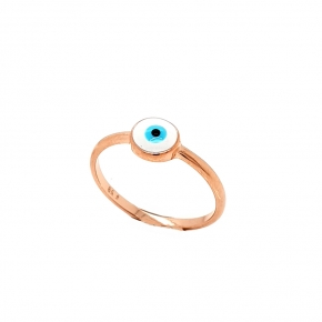 Ring silver 925 pink gold plated with enamel evil eye - Wish Luck