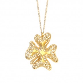 Necklace silver 925 yellow gold plated (pendant size 5cm) - WANNA GLOW