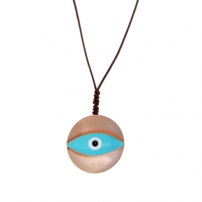 Necklace bronge rose gold plated with enamel and cord size of the eye 3 cm - Wish Luck
