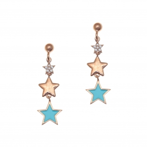 Earrings silver 925 pink gold plated with enamel and white zirconia - Color Me