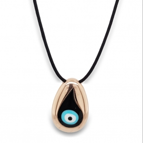 Necklace silver 925 pink gold plated with cord & with enamel evil eye (2,8 cm x 1,7 cm) - Wish Luck