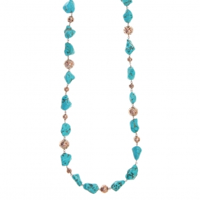 Necklace silver 925 rose gold plated with turqoise and rose lava beads - Color Me