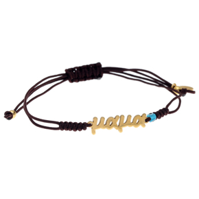 Bracelet silver 925 yellow gold plated with evil eye and cord - Wish Luck
